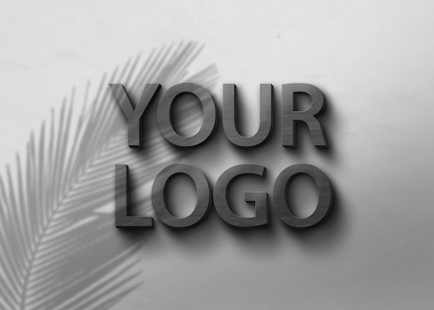 Black wood logo mockup