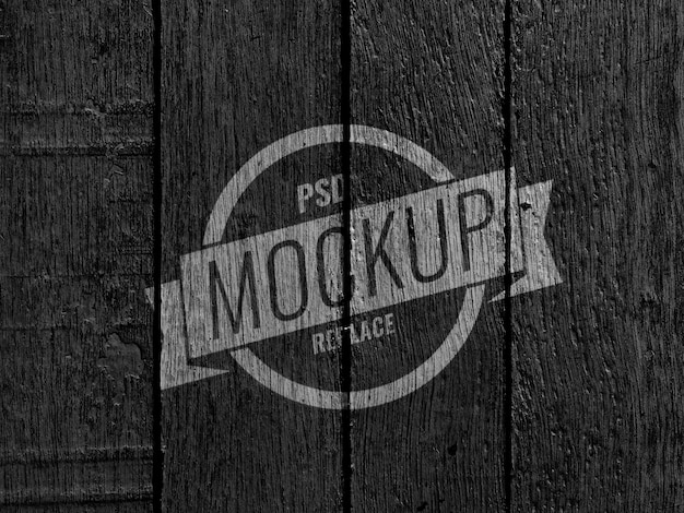 Black wood wall vintage mockup