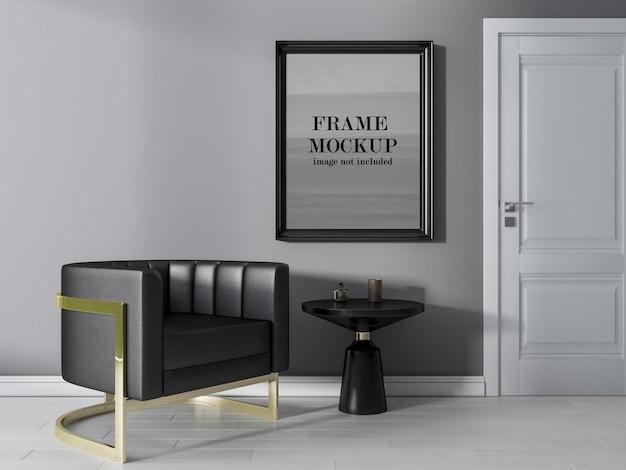 Black wooden frame mockup on grey wall