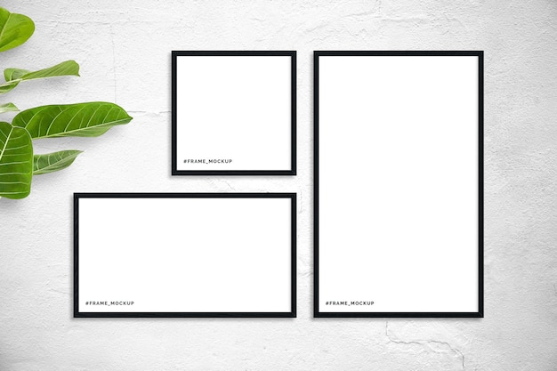 Black wooden frame set mockup