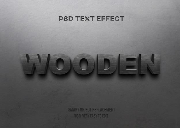 Black wooden on wall text effect