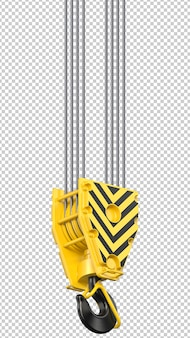 Black and yellow cranes hook hanging on long steel ropes