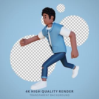 Чернокожие молодые люди работают с 3d-иллюстрацией персонажей