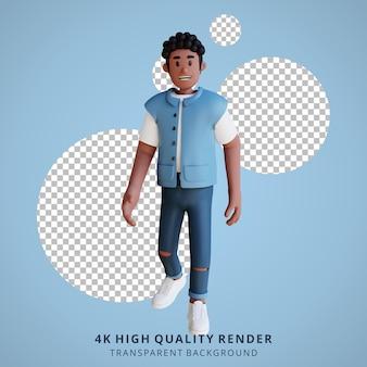 Чернокожие молодые люди, идущие с 3d-иллюстрацией персонажей