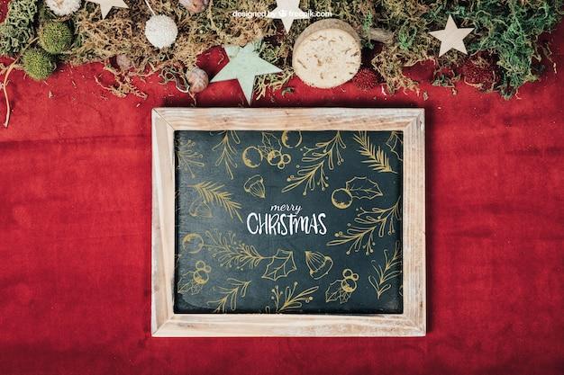 Blackboard mockup with christmas design