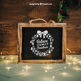 Blackboard mockup with christmtas design