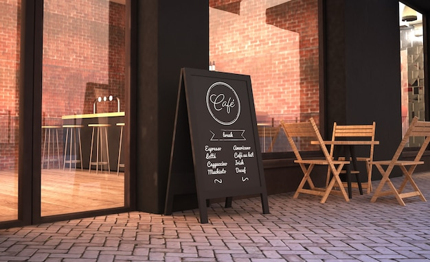 카페 외관 3d 렌더링 모형에 칠판 스탠드