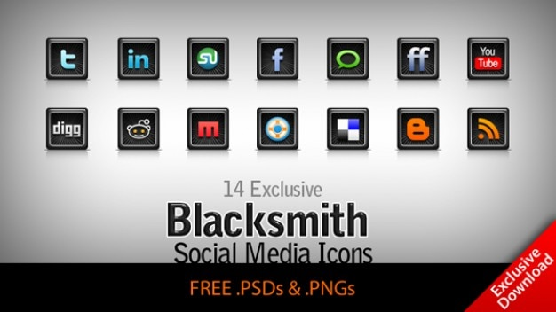 Blacksmith –  exclusive free social network   media icons