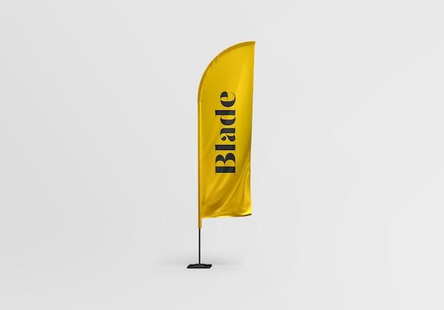 Blade flag mockup design isolated