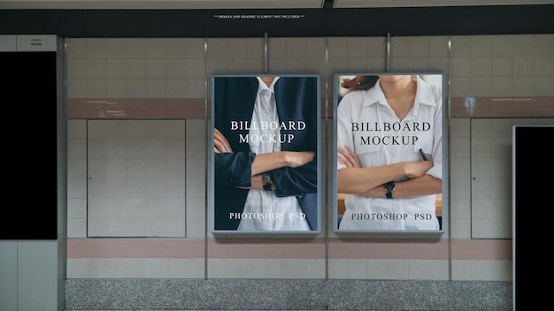 Blank advertisment banner display on the wall at subway station