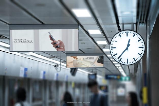Blank billboard in the interior building mockup template