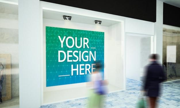 Макет пустого рекламного щита на витрине в 3d-рендеринге