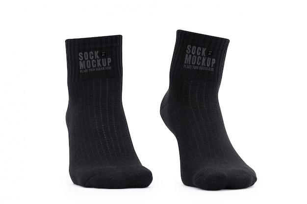 Шаблон макета пустых черных носков для вашего дизайна
