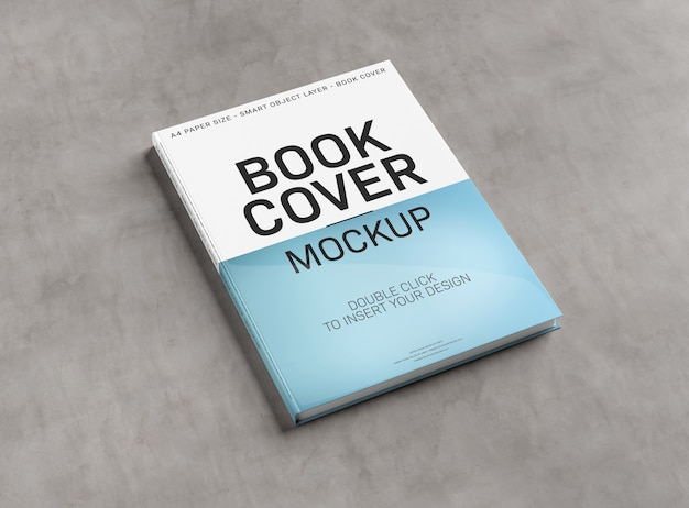 Blank book cover mockup on concrete