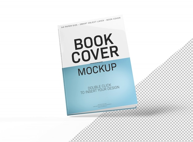 Blank book cover mockup isolated and floating on white