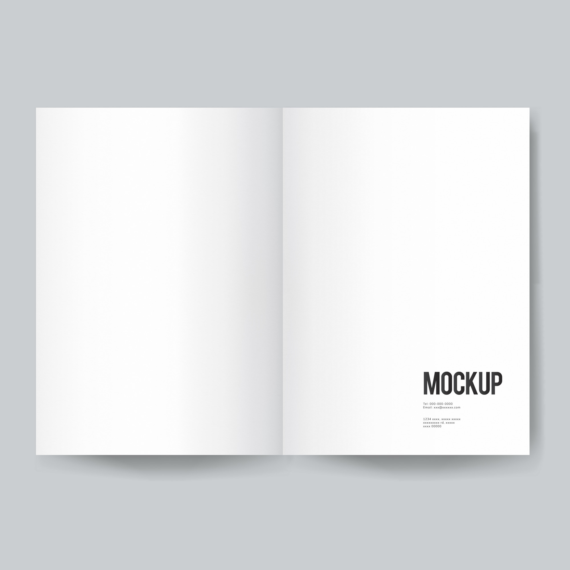 Blank book or magazine template mockup