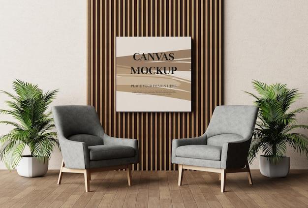 Blank canvas frame mockup 3d rendering