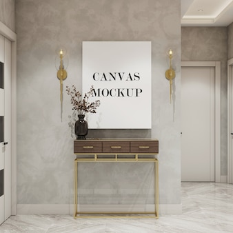 Blank canvas mockup above console table 3d render