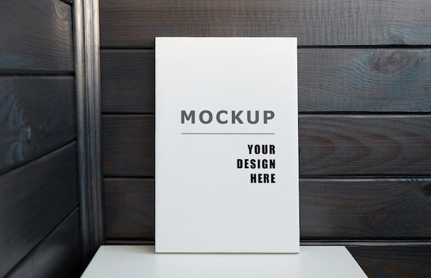 Blank canvas mockup on white table