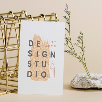 Blank card mockup design with decoration