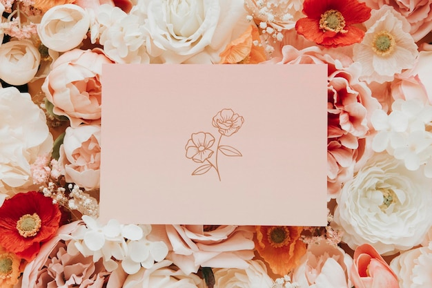 Пустая карточка на макете шаблона цветов