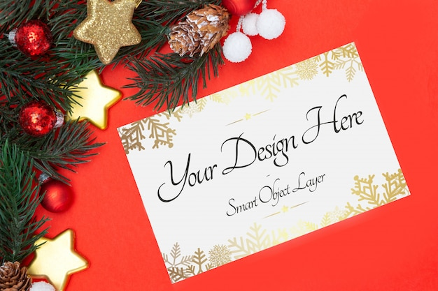 Blank christmas holidays greeting card on a red background