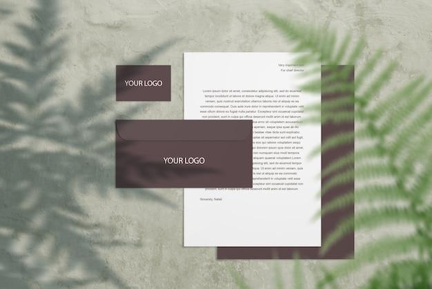 Blank corporate mockup stationery set on gray