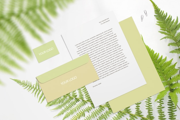 Blank corporate mockup stationery set on white