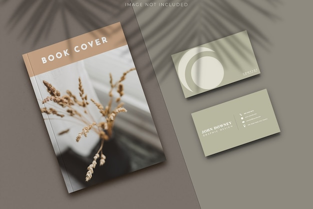 Blank cover magazine and business card mockup
