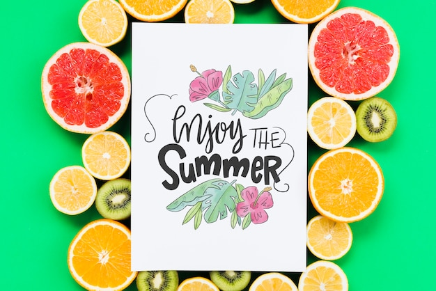Blank cover mockup surrounded by fresh fruits