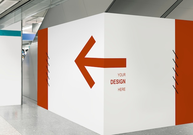 Blank exhibition wall mockup at a train station