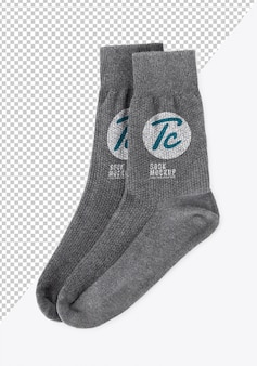 Blank grey socks mockup template for your design