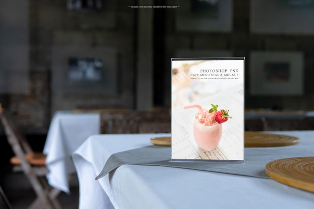 Blank menu holder cover in cafe and restaurant mockup template