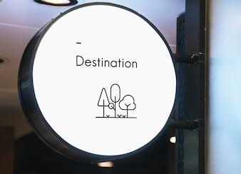 Blank minimal circular shop signboard mockup