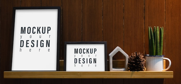 Blank mockup frame on wall shelf