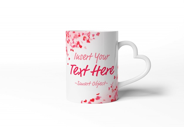 Blank mug mockup with heart shaped handle