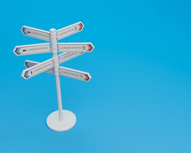 Blank multidirectional sign post, 3d illustration mock up