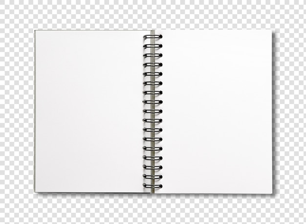 빈 오픈 나선형 노트북 흰색 절연