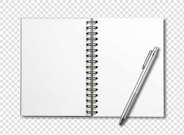 Blank open spiral notebook and pen isolated