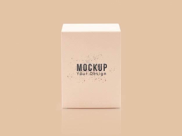 Blank orange product packaging box mockup.