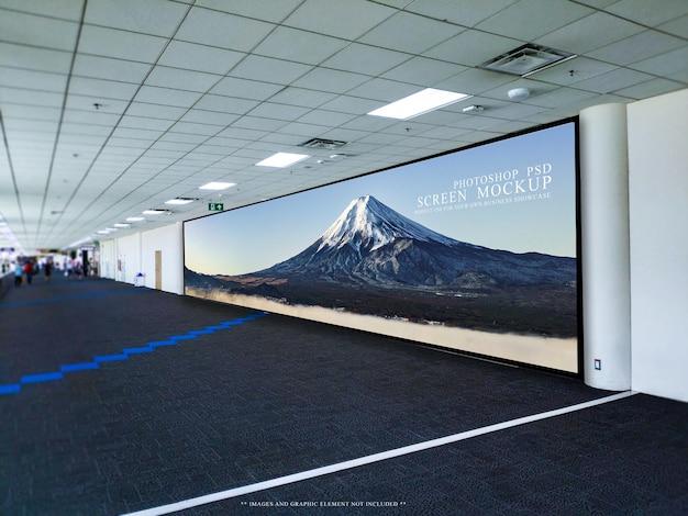 Blank panorama billboard in the airport mockup template