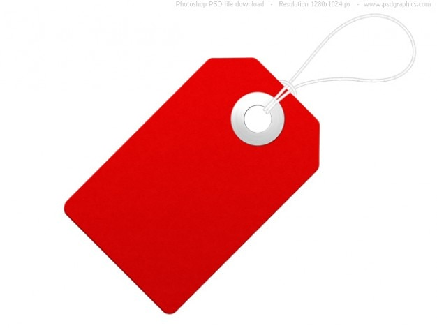 Blank paper label, red price tag