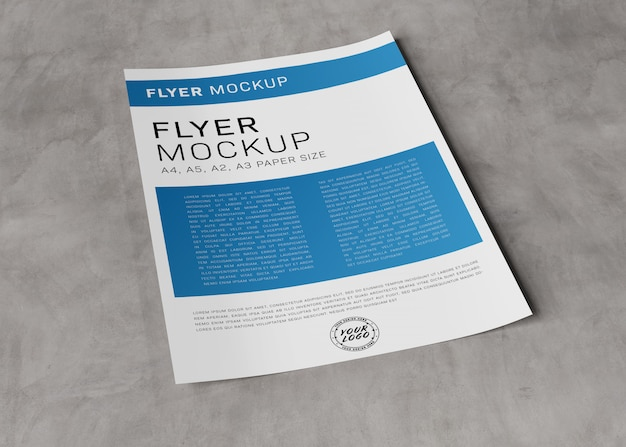 Blank paper sheet on concrete mockup
