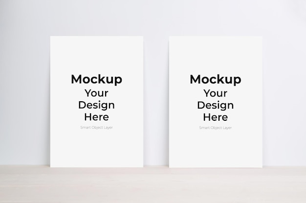 Blank paper sheet mockup on wooden table