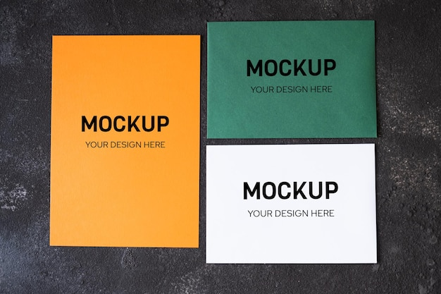 Blank papers in autumn color for mock up template design. view from above. flat lay, top view, overhead, copy space