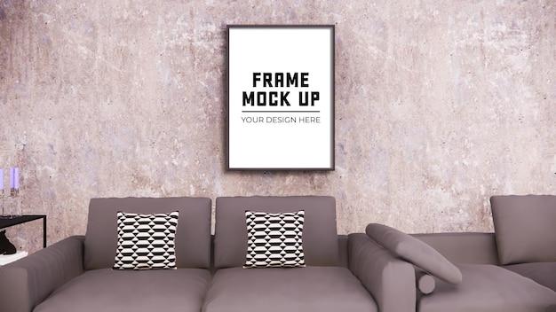 벽에 조롱을 위한 빈 사진 프레임