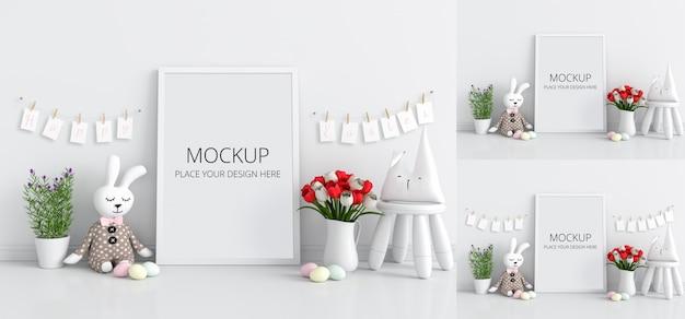 モックアップ、イースターコンセプトの空白のフォトフレーム
