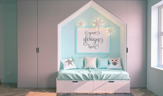 青い子部屋の3dレンダリングのモックアップ用の空白のフォトフレーム