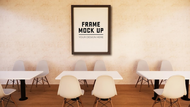 Blank photo frame for mock up on wall 3d rendering