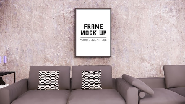 Blank photo frame for mock up on wall